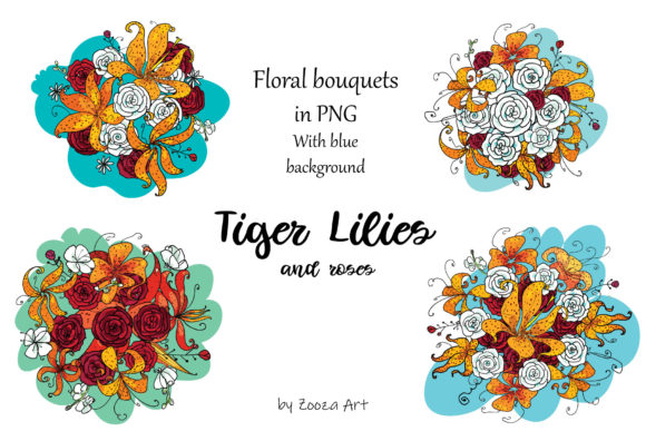 Print on Demand: Tiger Lilies & Roses Graphic Objects By Zooza Art - Image 11