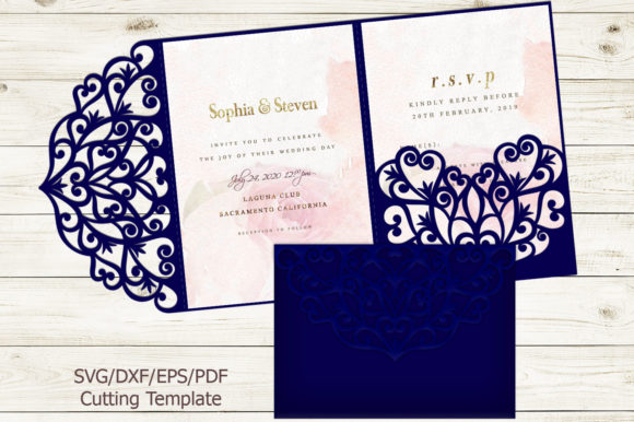 Trifold Wedding Invitation Svg Graphic Print Templates By Cornelia