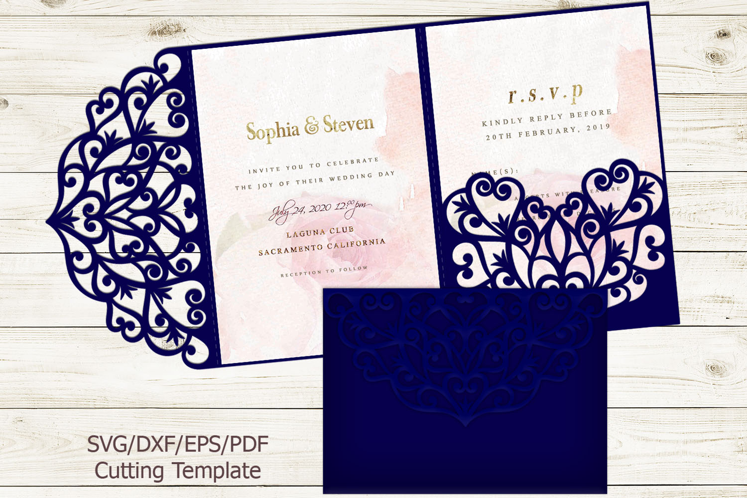 Download Free Trifold Wedding Invitation Svg Graphic By Cornelia Creative for Cricut Explore, Silhouette and other cutting machines.