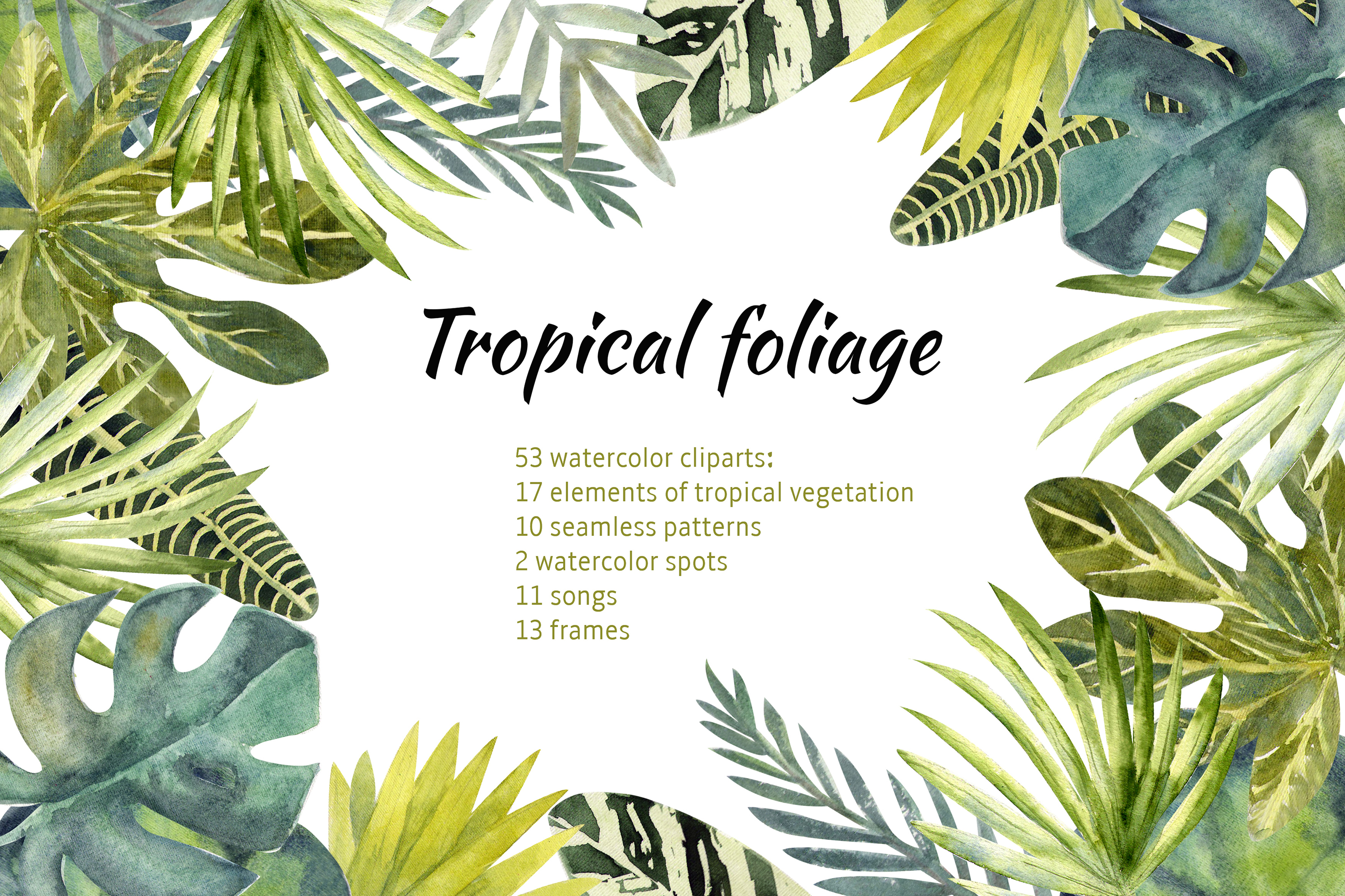 Download Free Tropical Leaves Graphic By Natika Art Creative Fabrica for Cricut Explore, Silhouette and other cutting machines.