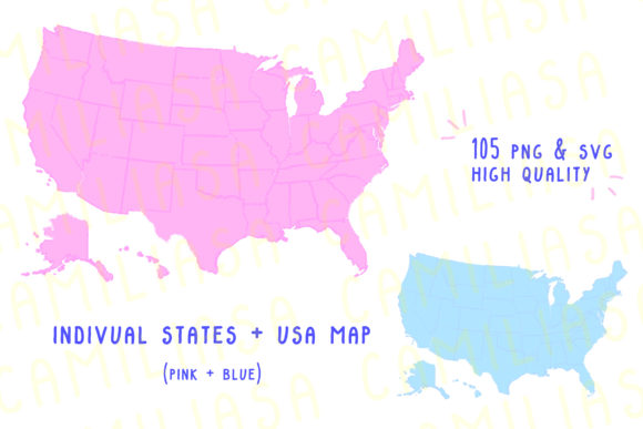 Print on Demand: USA Map States Graphic Icons By Inkclouddesign