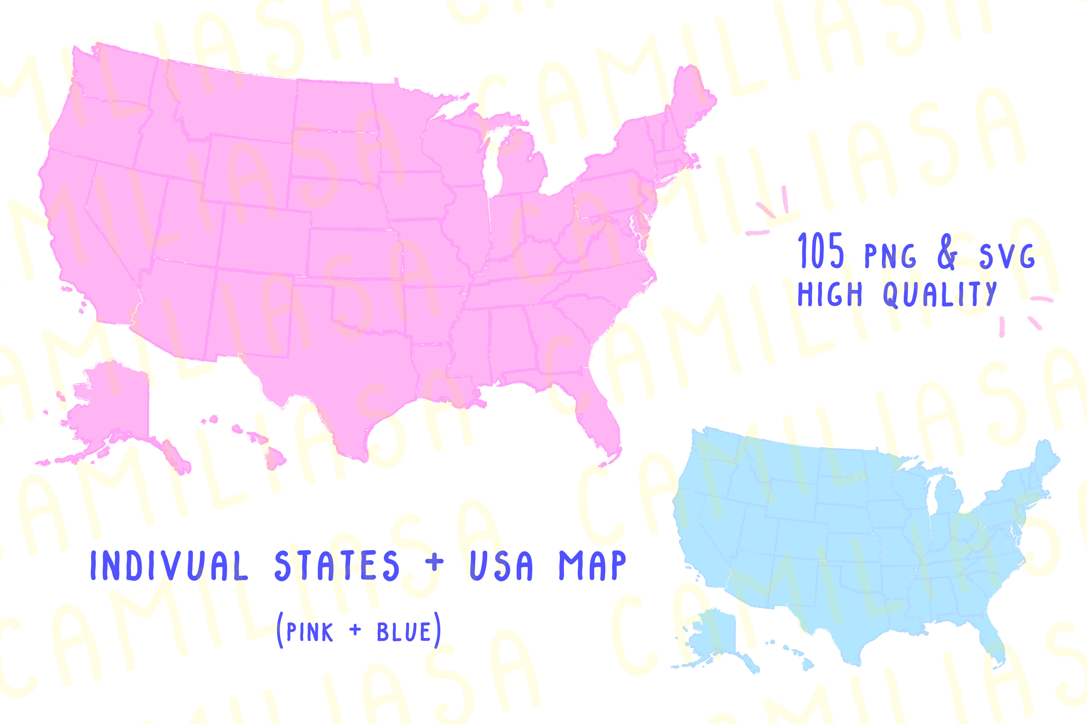 USA Map States Graphic by Inkclouddesign - Creative Fabrica Us Maps States on