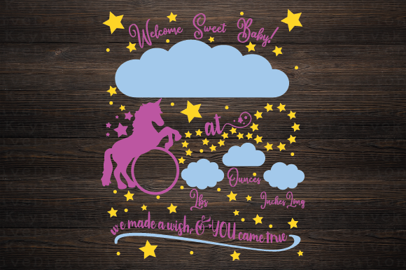 Download Free Unicorn Birth Stat Svg Graphic By Kayla Griffin Creative Fabrica for Cricut Explore, Silhouette and other cutting machines.