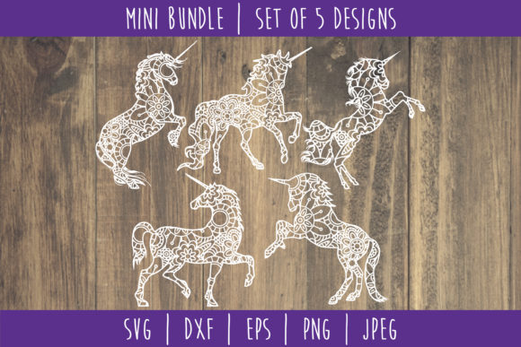 Unicorn Mandala Zentangle Mini Bundle Graphic Crafts By SavoringSurprises