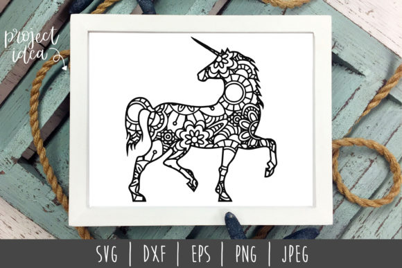 Download Free Unicorn Mandala Zentangle Graphic By Savoringsurprises for Cricut Explore, Silhouette and other cutting machines.