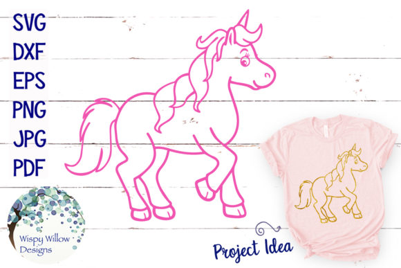 Unicorn Outline SVG Graphic Crafts By WispyWillowDesigns