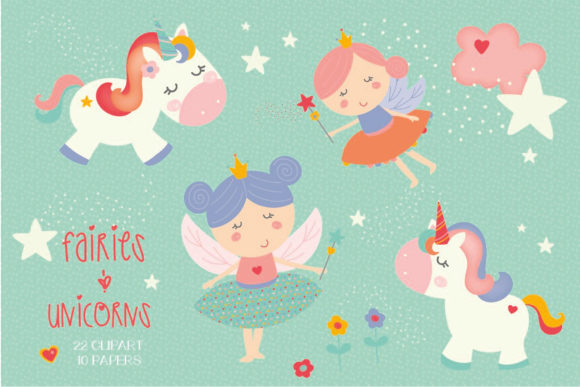 Print on Demand: Unicorns and Fairies Pack Graphic Illustrations By poppymoondesign - Image 1