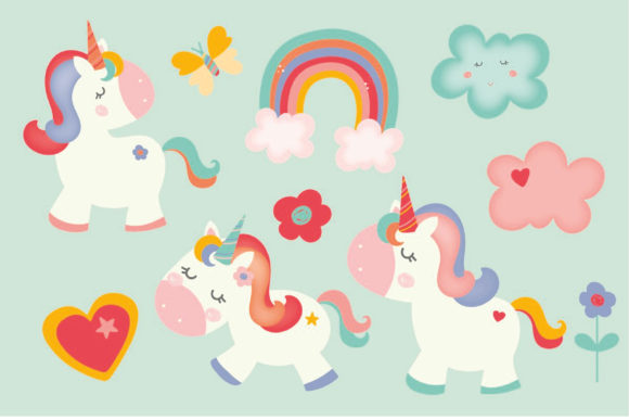 Print on Demand: Unicorns and Fairies Pack Graphic Illustrations By poppymoondesign - Image 3