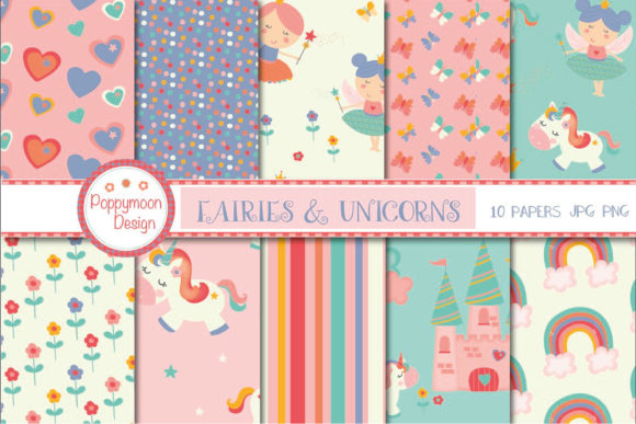 Print on Demand: Unicorns and Fairies Pack Graphic Illustrations By poppymoondesign - Image 2