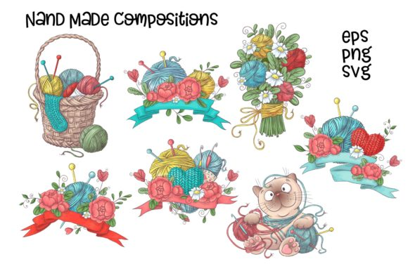 Print on Demand: Crafty & Floral Vector Clip Art Graphic Illustrations By nicjulia - Image 2