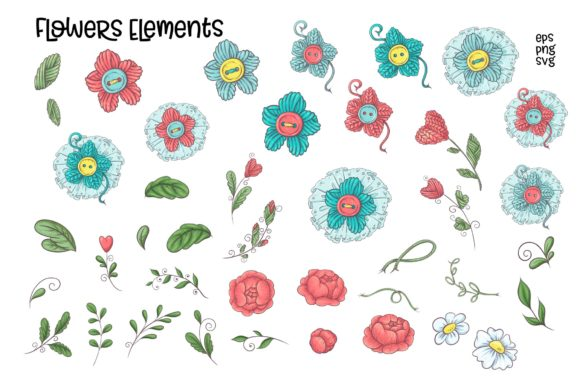 Print on Demand: Crafty & Floral Vector Clip Art Graphic Illustrations By nicjulia - Image 5