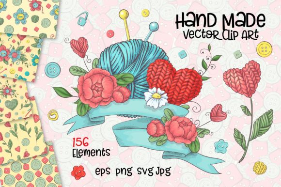 Print on Demand: Crafty & Floral Vector Clip Art Graphic Illustrations By nicjulia