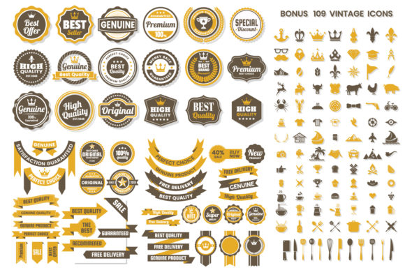 Vintage Badge & Objects Vector Set Graphic Objects By toonsteb