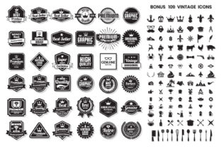 Download Free Vintage Badge Objects Vector Set Graphic By Toonsteb for Cricut Explore, Silhouette and other cutting machines.