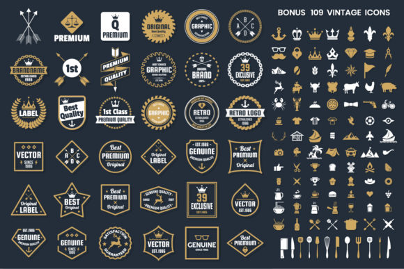 Vintage Badge & Objects Vector Set Gray and Gold Graphic Logos By toonsteb