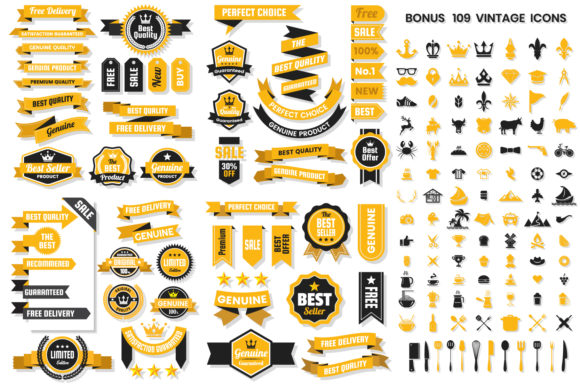 Vintage Badge & Objects Vector Set Graphic By toonsteb Image 1