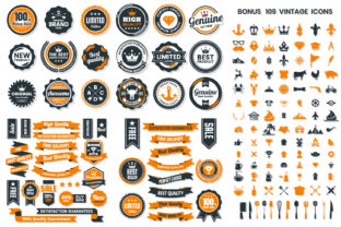 Print on Demand: Vintage Badge & Objects Vector Set Orange and Gray Graphic Objects By toonsteb