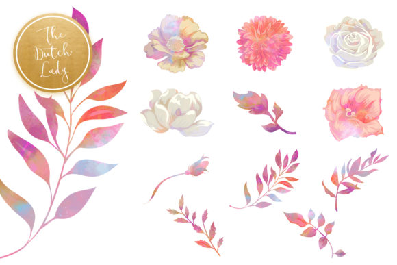 Print on Demand: Vintage Florals & Botanicals Clipart Set - Melanie Graphic Illustrations By daphnepopuliers - Image 4