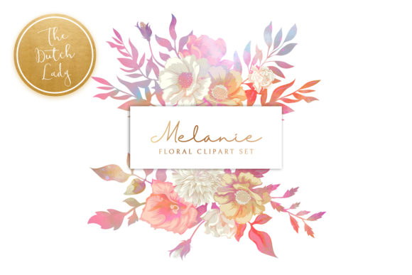 Print on Demand: Vintage Florals & Botanicals Clipart Set - Melanie Graphic Illustrations By daphnepopuliers