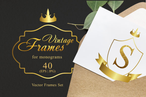 Print on Demand: Vintage Frames for Monograms Gold Graphic Illustrations By MyStocks