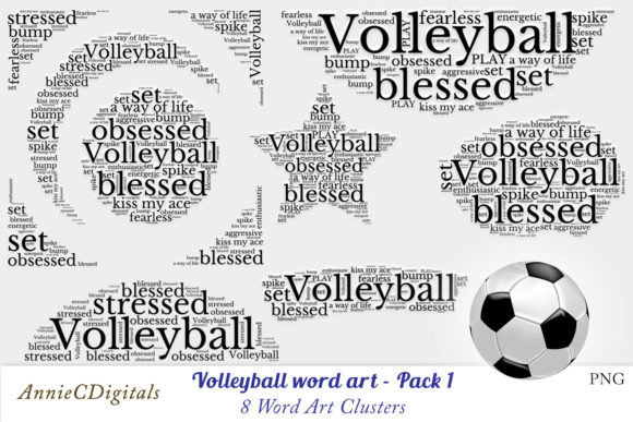 Download Free Volleyball Word Art Clusters Graphic By Anniecdigitals SVG Cut Files