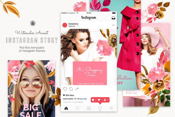 Watercolor Accent Instagram Stories Graphic Illustrations By webvilla - Image 1