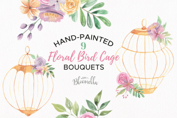 Watercolor Birdcage Florals Clipart Graphic Illustrations By Bloomella