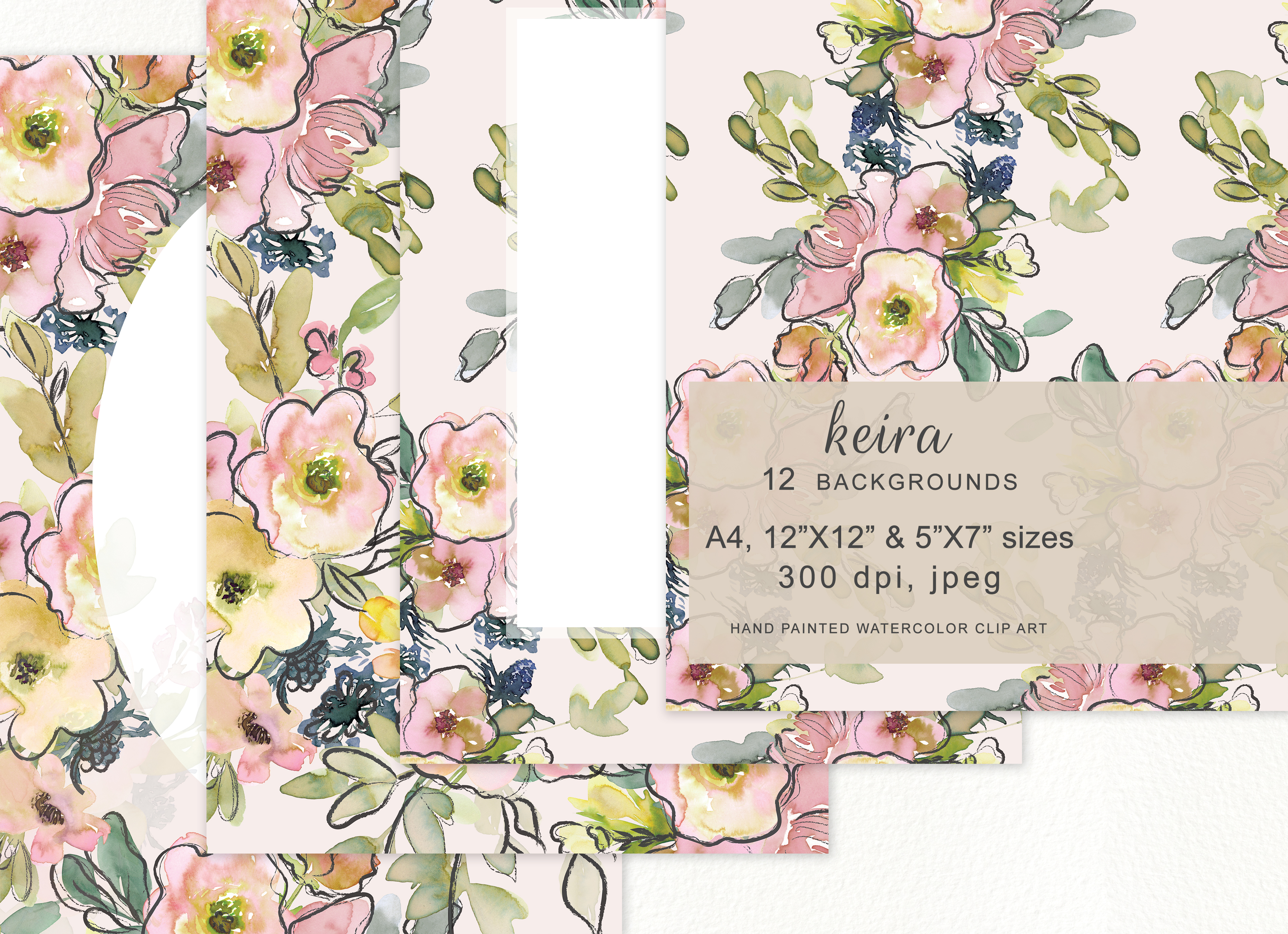 Download Free Watercolor Blush And Lemon Colors Floral Graphic By Patishop Art Creative Fabrica for Cricut Explore, Silhouette and other cutting machines.
