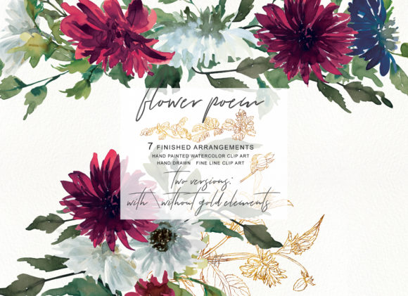 Watercolor Burgundy Flowers Arrangement Clipart Gráfico Ilustraciones Por Patishop Art