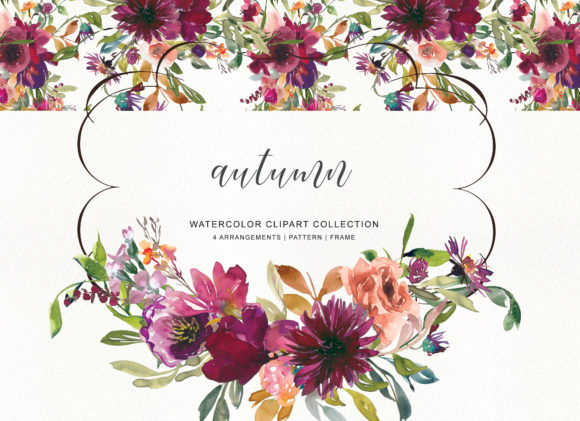 Watercolor Burgundy Flowers Clipart Graphic Illustrations By Patishop Art