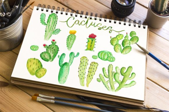 Download Free Watercolor Cactus Clipart Graphic By Evgeniiasart Creative Fabrica for Cricut Explore, Silhouette and other cutting machines.