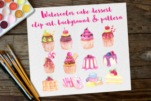 Print on Demand: Watercolor Clip Art Dessert Cake Graphic Illustrations By OrchidArt
