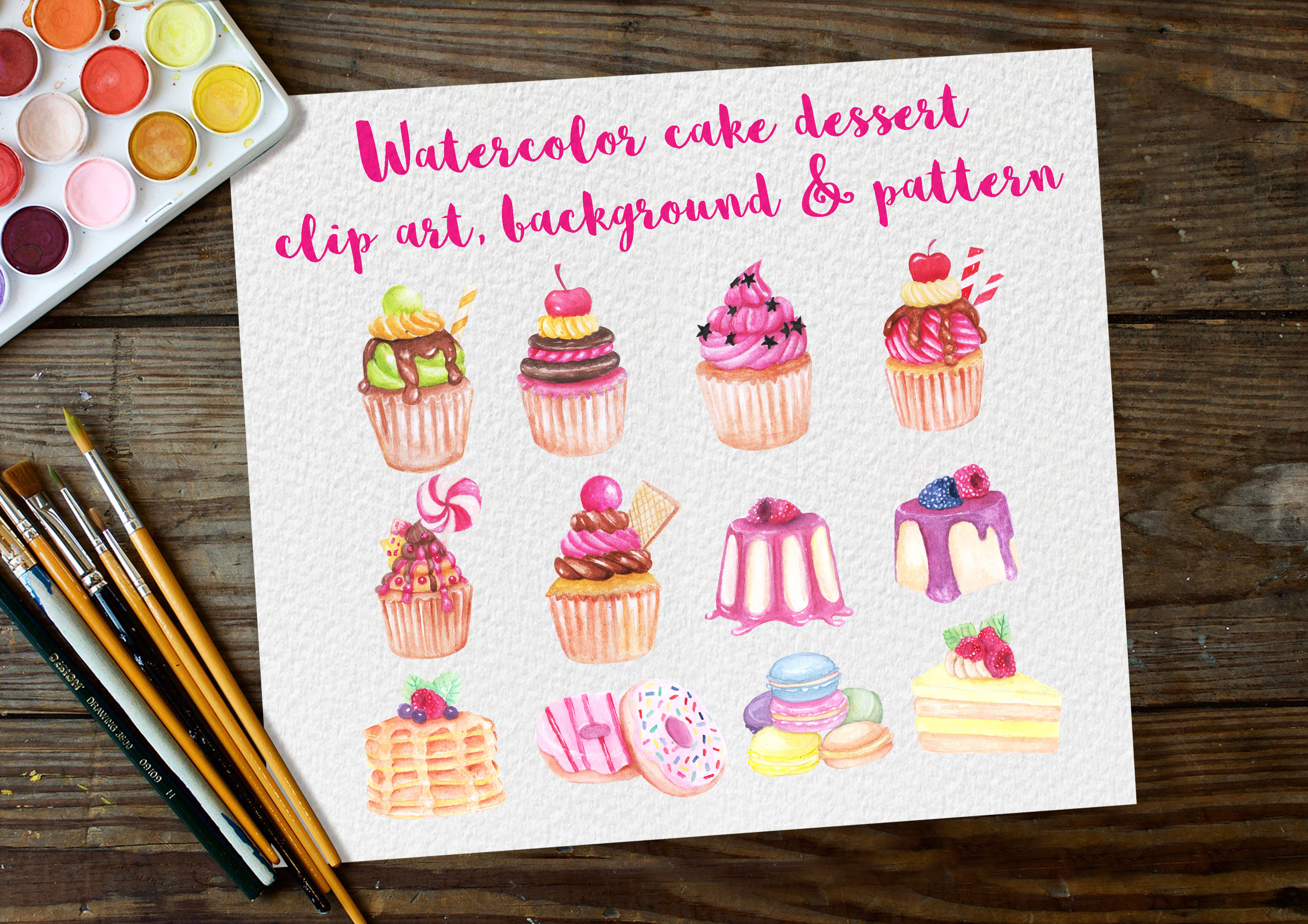 Download Free Watercolor Clip Art Dessert Cake Graphic By Orchidart Creative for Cricut Explore, Silhouette and other cutting machines.