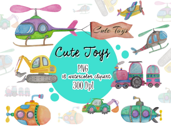 Download Free Watercolor Clipart Toys Graphic By Greentosca Std Creative Fabrica for Cricut Explore, Silhouette and other cutting machines.