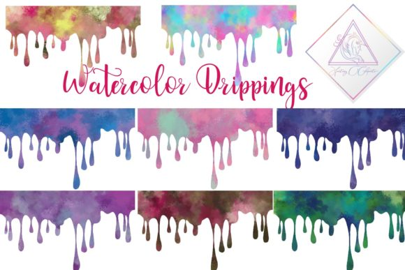 Print on Demand: Watercolor Drippings Graphic Illustrations By fantasycliparts