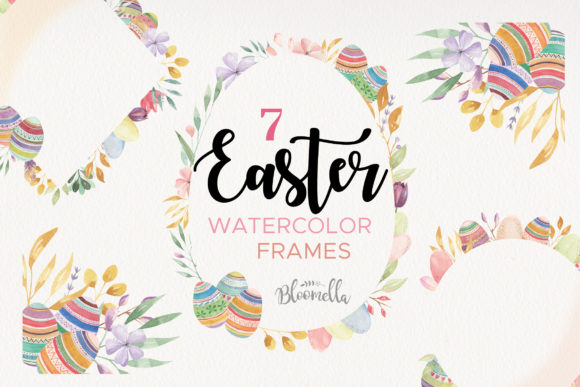 Watercolor Easter Egg Flower Frames Graphic Illustrations By Bloomella