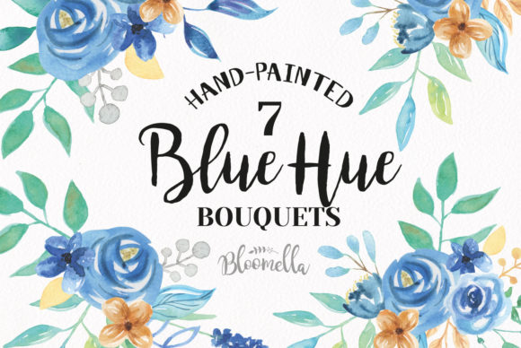 Watercolor Floral Blue Hue Clipart Graphic Illustrations By Bloomella