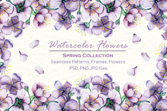 Print on Demand: Watercolor Flowers - Spring Collection Graphic Illustrations By tanatadesign