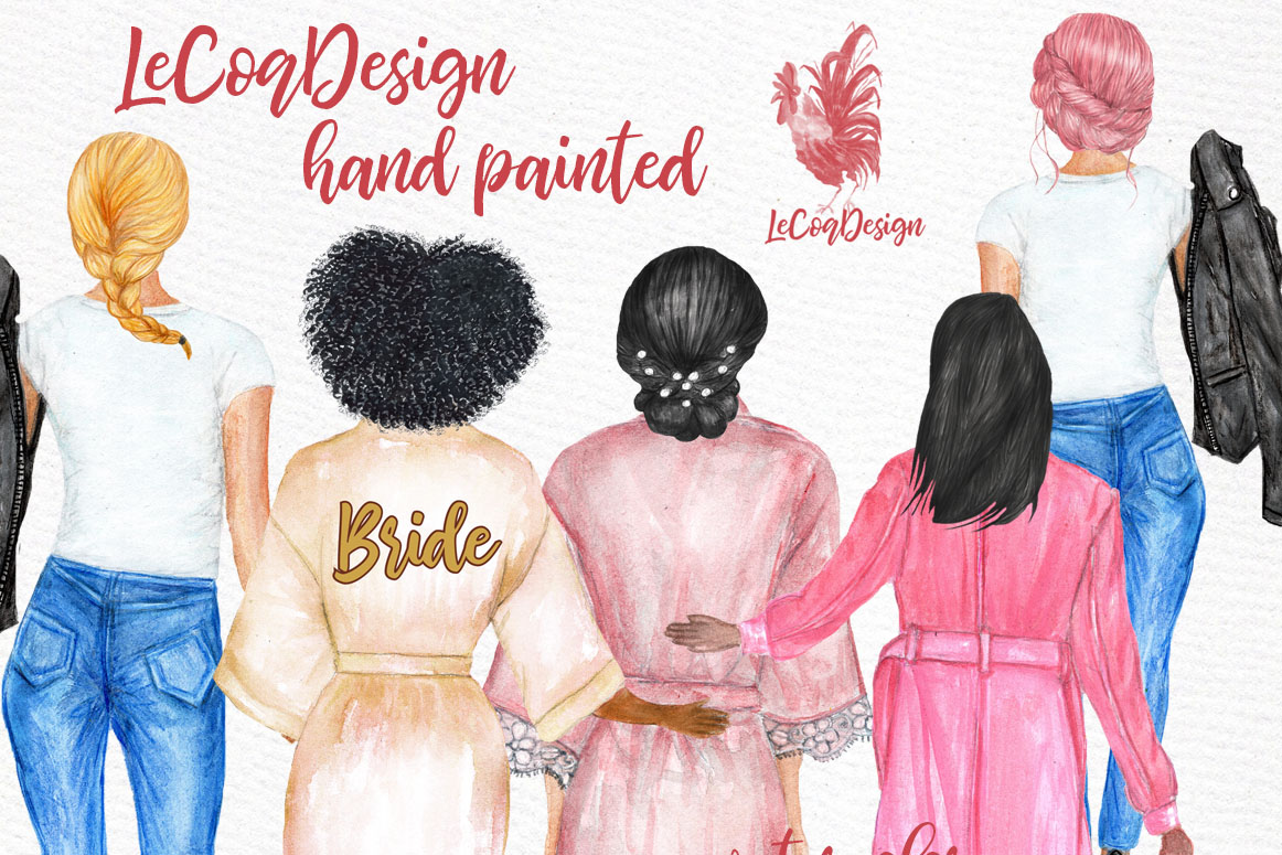 Watercolor Hairstyles Clipart SVG File