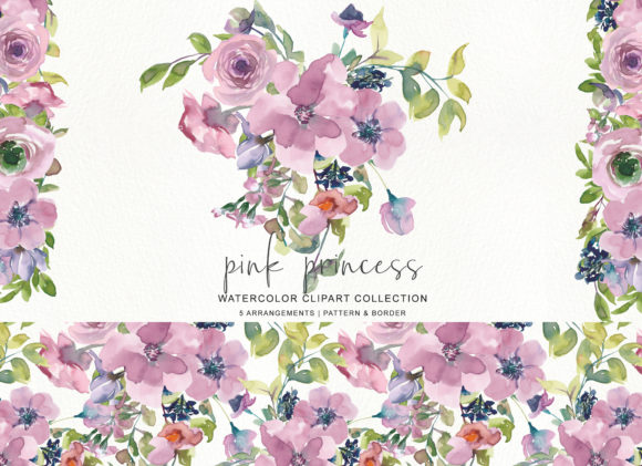 Watercolor Mauve Rose Clipart Graphic Illustrations By Patishop Art