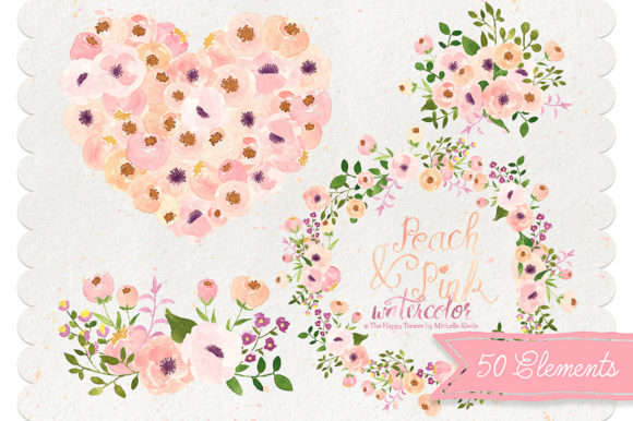 Print on Demand: Watercolor Peach and Pink Flower Graphic Illustrations By Michelle Alzola - Image 2