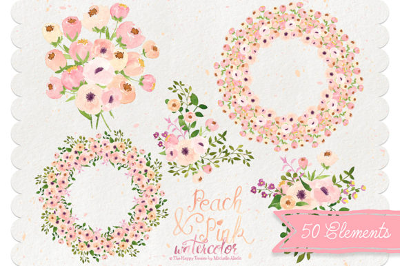 Print on Demand: Watercolor Peach and Pink Flower Graphic Illustrations By Michelle Alzola - Image 3