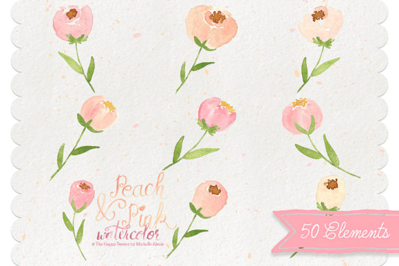 Print on Demand: Watercolor Peach and Pink Flower Graphic Illustrations By Michelle Alzola - Image 4
