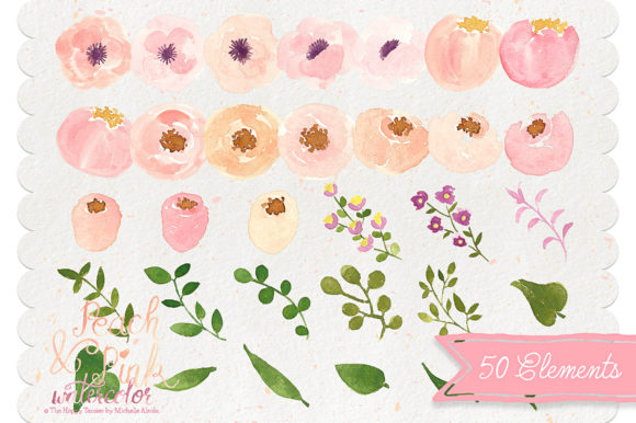 Print on Demand: Watercolor Peach and Pink Flower Graphic Illustrations By Michelle Alzola - Image 5
