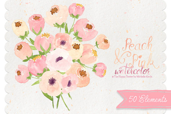 Print on Demand: Watercolor Peach and Pink Flower Graphic Illustrations By Michelle Alzola - Image 1