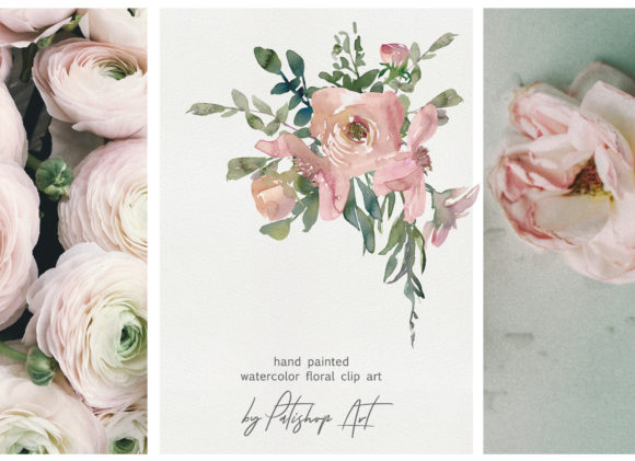 Watercolor Pink Blush Flower Clipart Graphic Illustrations By Patishop Art - Image 5