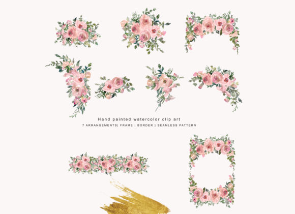 Watercolor Pink Blush Flower Clipart Graphic Illustrations By Patishop Art - Image 6