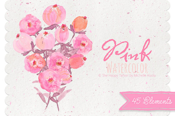 Print on Demand: Watercolor Pink Flower Clipart Graphic Illustrations By Michelle Alzola