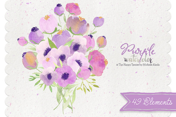 Print on Demand: Watercolor Purple Flower Clipart Graphic Illustrations By Michelle Alzola