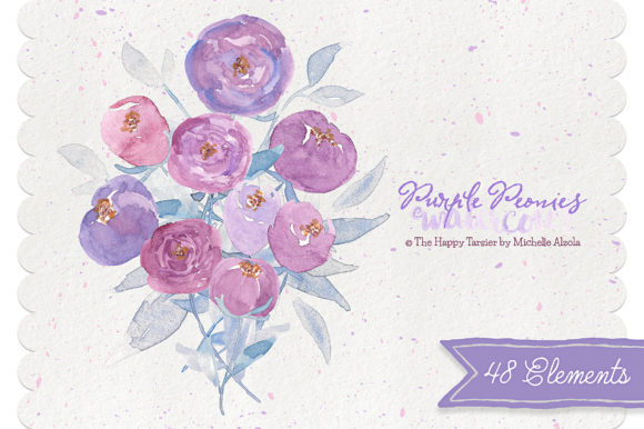 Print on Demand: Watercolor Purple Peonies Clipart Graphic Illustrations By Michelle Alzola
